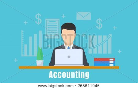 Accounting Office Man Concept Background. Flat Illustration Of Accounting Office Man Vector Concept
