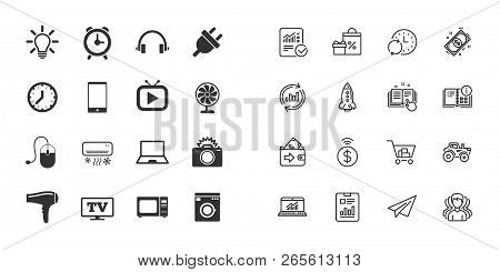 Set Of Electronics, Home Appliances And Devices Icons. Hairdryer, Photo Camera And Notebook Signs. A