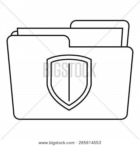 Protected Folder Icon. Outline Illustration Of Protected Folder Vector Icon For Web Design Isolated