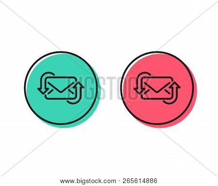 Refresh Mail line icon. New Messages correspondence sign. E-mail symbol. Positive and negative circle buttons concept. Good or bad symbols. Refresh Mail Vector poster