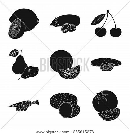 Isolated Object Of Vegetable And Fruit Symbol. Set Of Vegetable And Vegetarian Stock Symbol For Web.