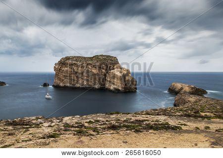 Fungus Rock, On The Coast Of Gozo, Malta