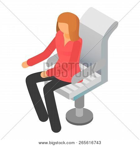Woman At Boss Chair Icon. Isometric Of Woman At Boss Chair Vector Icon For Web Design Isolated On Wh