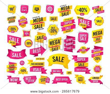 Sale Banner. Super Mega Discounts. Online Shopping Icons. Notebook Pc, Shopping Cart, Buy Now Arrow