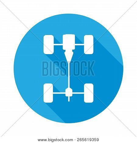 Chassis car flat icon with long shadow. Element of Car repair services illustration. Premium quality graphic design icon. Signs and symbols icon for websites, web design, mobile poster