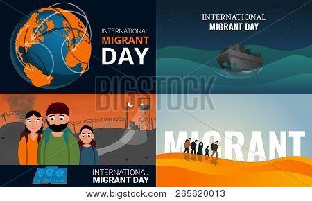 Migrant banner set. Cartoon illustration of migrant vector banner set for web design poster