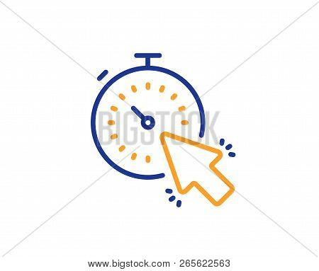 Timer Line Icon. Time Or Clock Sign. Mouse Cursor Symbol. Colorful Outline Concept. Blue And Orange