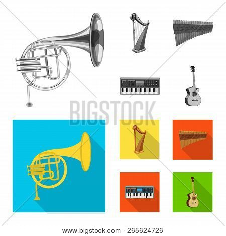 Isolated Object Of Music And Tune Symbol. Set Of Music And Tool Vector Icon For Stock.