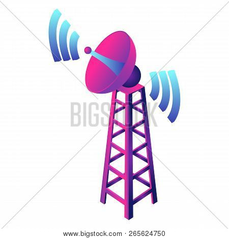 Gsm Smart Tower Icon. Isometric Of Gsm Smart Tower Vector Icon For Web Design Isolated On White Back