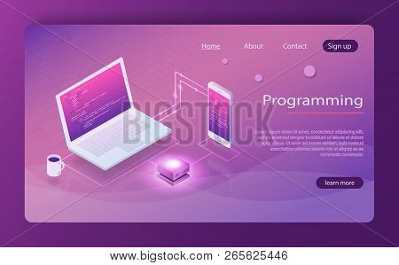 Software Development Programming, Program Code On Laptop Screen, Big Data Processing. Software, Web