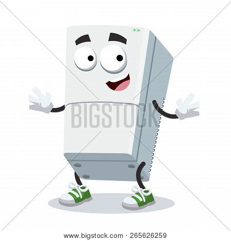 Cartoon Happy Two Compartment Refrigerator Mascot Smiling