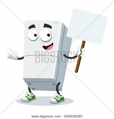 Cartoon Joyful Two Compartment Refrigerator Mascot With Tablet In Hand