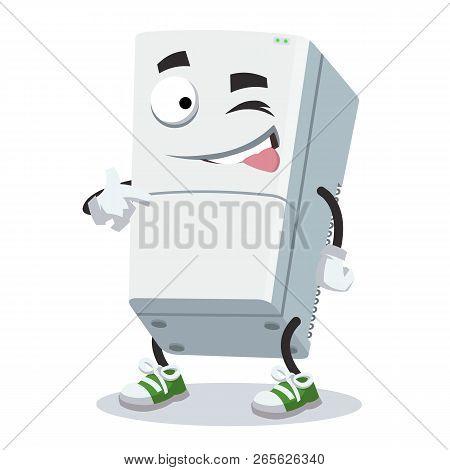 Cartoon Joyful Two Compartment Refrigerator Winks Isolated