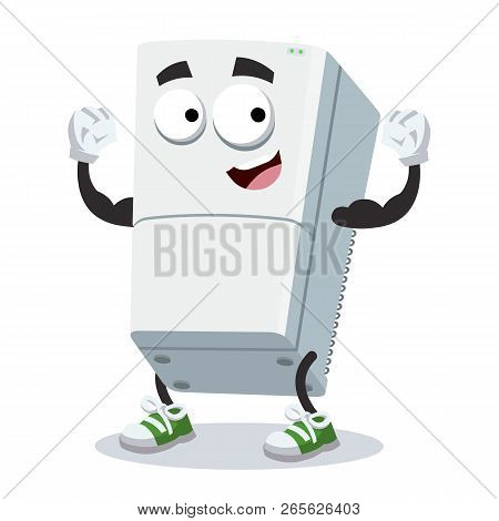 Cartoon Two Compartment Refrigerator Mascot Shows Its Strength