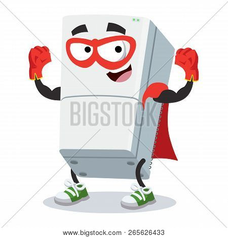 Superhero Cartoon Two Compartment Refrigerator Character Mascot In Sneakers