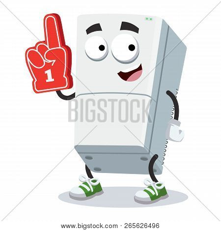 Cartoon Two Compartment Refrigerator Character Mascot With The Number 1 One Sports Fan Hand Glove