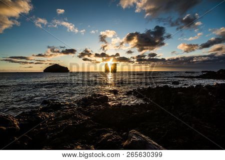 Amazing Sunset At The Beach Of Mosteiros , Azores Islands, Portugal.