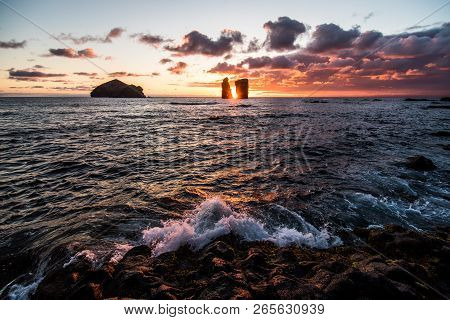 Sunset At Mosteiros Beach On The Azores On Sao Miguel Island