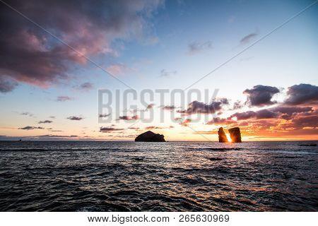 Beautiful Sunset Near Volcanic Rocks Of Mosteiros Beach, Sao Miguel, Azores