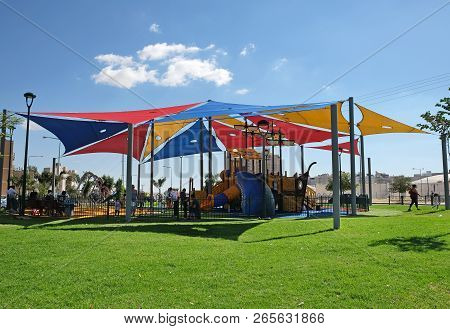 Beer Sheva, Israel - October 27, 2018: New Modern Playground For Children With Shading