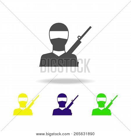 Terrorist Multicolored Icon. Element Of Terrorism Elements Illustration. Signs And Symbols Collectio