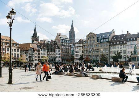 Strasbourg, France - Oct 26, 2018: Colorful Strasbourg Place Kleber On A Warm Summer Day With Hundre