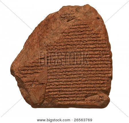 Clay tablet with cuneiform writing of the ancient Sumerian  or Assyrian civilization isolated on white with clipping path poster