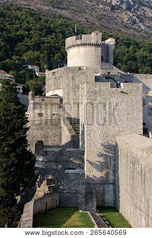 Dubrovnik, Croatia, July 31, 2018: Fort Minceta In Dubrovnik, Croatia Originated In 1319, Rebuilt In