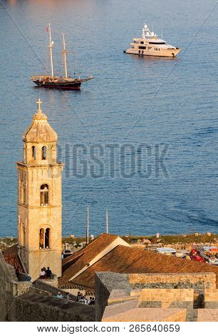 Dubrovnik, Croatia, July 31, 2018: 15th Century Bell Tower Of The Dominican Monastery In Dubrovnik,