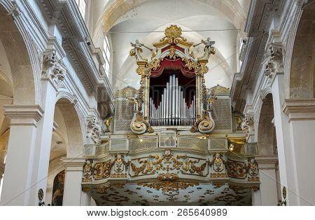 Dubrovnik, Croatia, July 29, 2018: Pipe Organ Of The Franciscan Church And Monastery In Dubrovnik, C