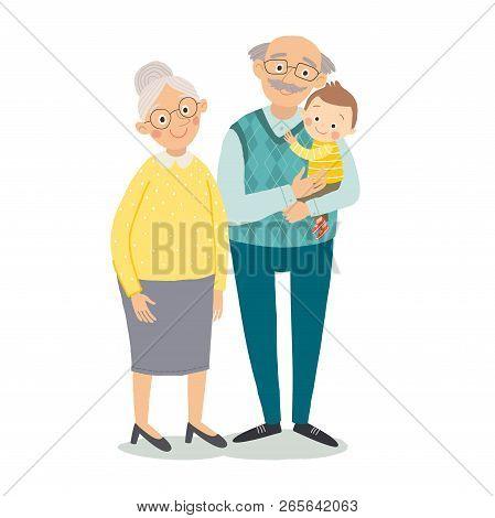 Grandparents With Grandchild. Grandmother, Grandfather And Baby Grandchild. Grandparents Day Greetin