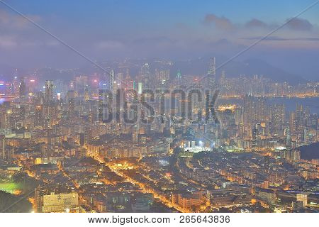 A Kowloon Night View At Lion Rock
