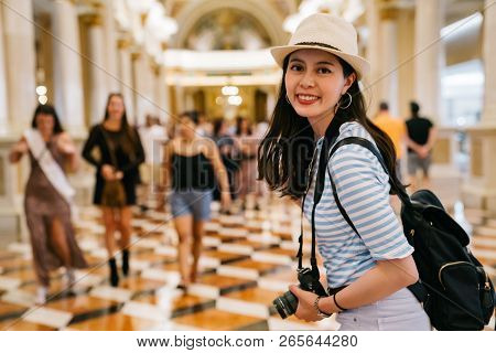 Traveler Cheerfully Walking In The Shopping Mall
