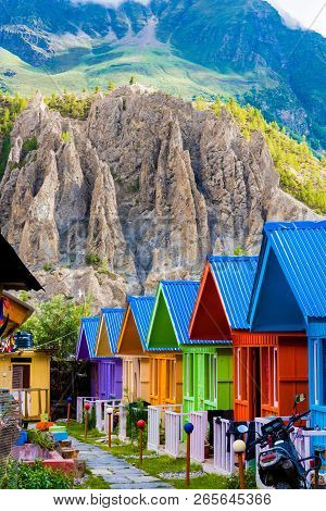 Colourful Huts For Tourists Accomodation In Manang Village, Annapurna Conservation Area, Nepal