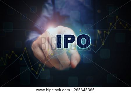 Close Up Finger Pointing Into The Ipo Text With Initial Public Offering Concept.