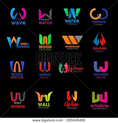 Letter W Icons For Business Company, Web Studio Or Home Development Industry And Art Center. Vector