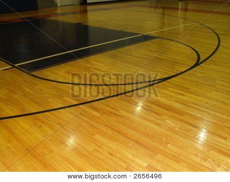 Wood Floor On An Indoor Basketball Court
