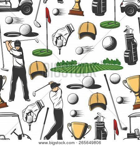 Golf Pattern Background. Vector Seamless Design Of Golf Player With Sport Club Stick, Ball And Hole