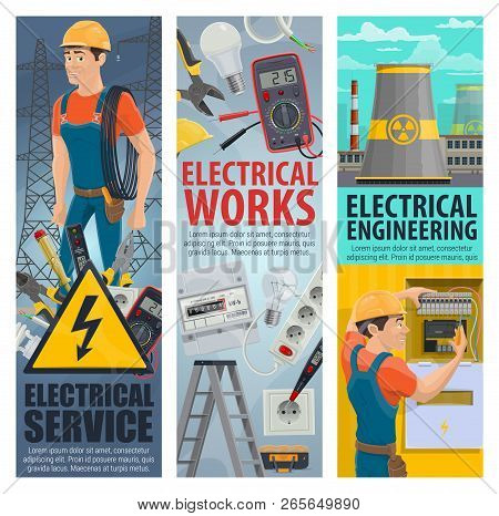 Electrical Service Works Banners Of Electrician Engineer With Electric Repair Equipment, Vector Man