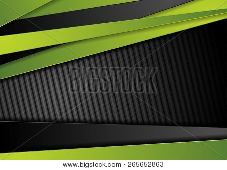 Tech Black Background With Contrast Bright Green Stripes. Abstract Vector Graphic Brochure Corporate