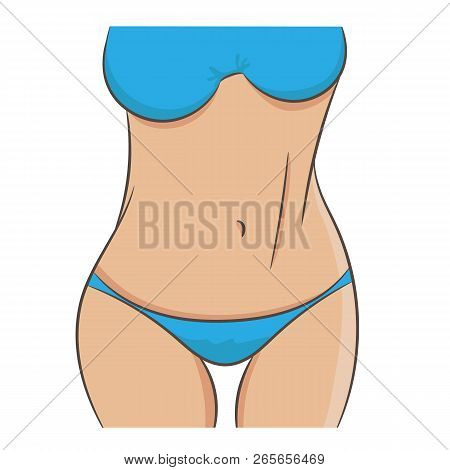 Closeup Picture Of Slim Woman Waist And Arms. Beautiful Female Tummy, Fit Stomach. Vector Illustrati