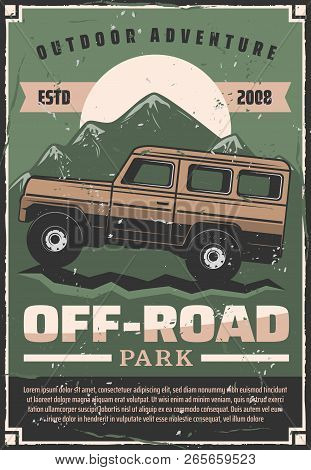 Off-road Travel Adventure Or Car Extreme Sport Club Retro Poster. Vector Vintage Design Of Pickup Of