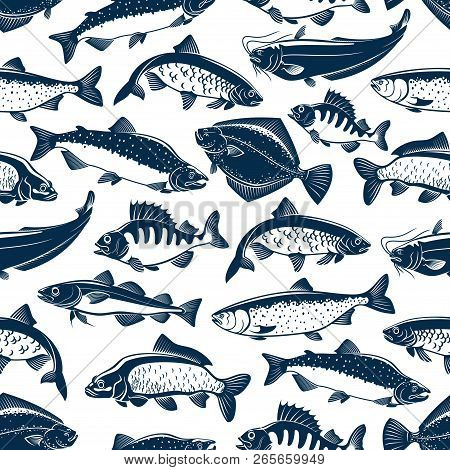 Fish Seamless Pattern For Fishing Or Seafood Restaurant. Vector Background Of Sea And Ocean Fishes S