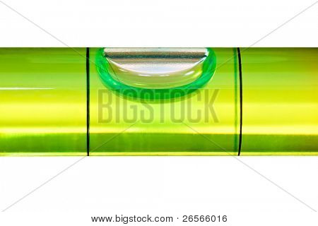 Green bubble level isolated on a white background with clipping path