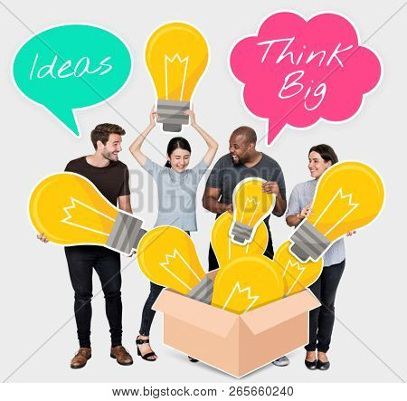 People thinking big with creative ideas
