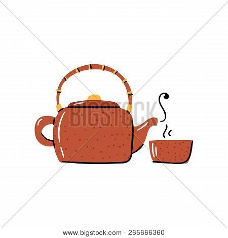 Vector Cartoon Illustration With Trendy Japanese Clay Teapot And Cup. Tea Ceremony Objects. Vector J