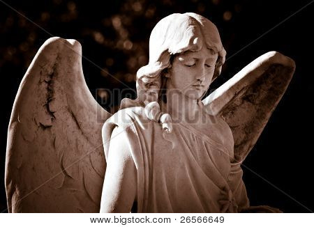 Vintage sepia image of a young beautiful female angel