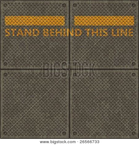 """Seamless panel texture with a warning yellow line and the words """"STAND BEHIND THIS LINE"""""""