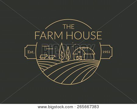 Farm House Outline Vector & Photo (Free Trial) | Bigstock