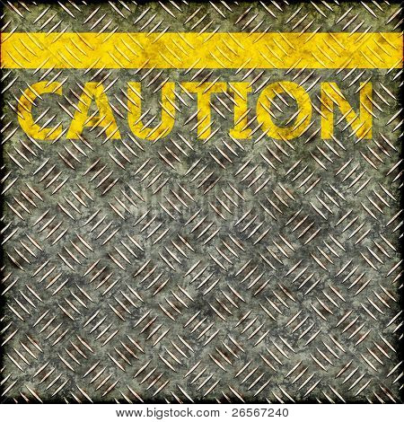 Seamless grunge pavement illustration with a yellow line and the word CAUTION